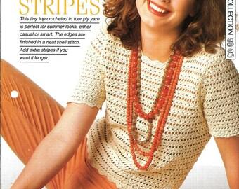"Crochet pattern - Woman's ""Lacy Stripes"" sweater jumper top - Instant download"