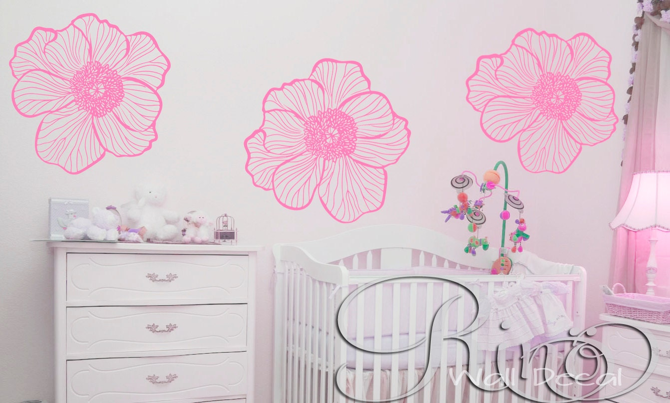 Premium Large Flowers Floral Wall Art DECAL   Vinyl Sticker Home Decor  Modern Shabby Chic Nursery Outilne Decals Customized Your Blank Wall