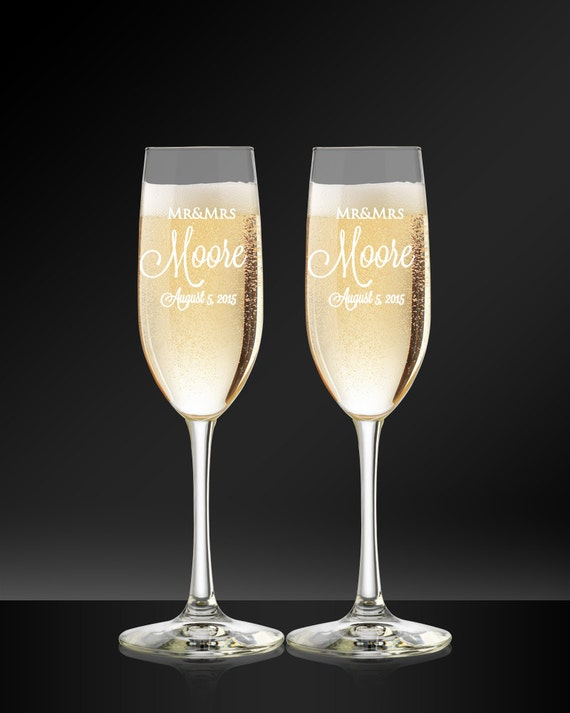 custom wedding champagne glasses personalized toasting flutes