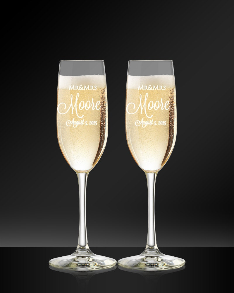custom champagne flutes engraved wedding glasses bride and
