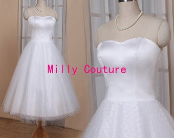 New arrival strapless sweetheart 1950s polka dots tulle tea length wedding dress, short wedding gown, robe de marriage