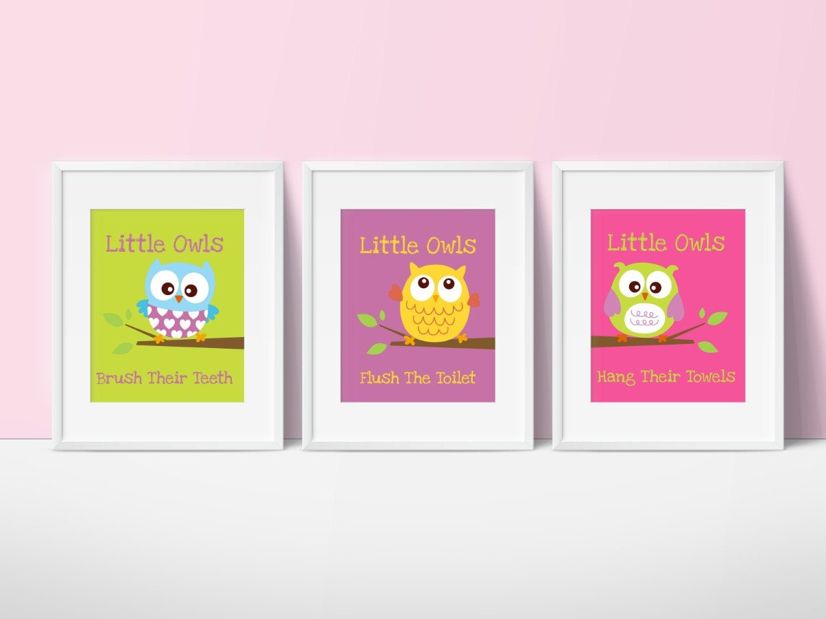 Owl Bathroom Decor Little Owls Wash Their Hands Print Kids