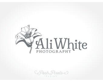 Logo Design (Premade) Floral Logo, Hand Drawn Logo, Lily Logo, Photography Logo, Boutique logo, Flower logo, Shabby Chic