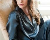 Women's Long Silk Pyjama Set - Handmade using 100% Silk - Midnight Grey Colour