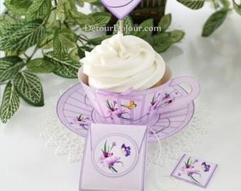 Lavender Cupcake Wrappers, Purple Tea Cups, Paper Tea Cups, Tea Party Favor Holders, Tea Cups with Saucers, Printable Cupcake Wraps LTC 001