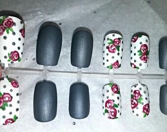 Matte Grey fake nail set- Rose nails- Flower Nails- Spring Nails- Press on Nails- Glue on Nails- False Nails- Gifts for Her- Polka Dot Nails