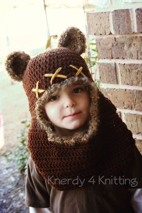 Crochet Bear Cowl Crochet Bear Hat Ewok Inspired Costume