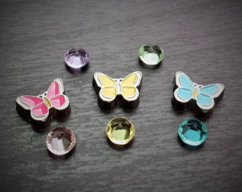 Butterfly Floating Charm Set for Floating Lockets-8 Pieces-Spring Charms-Gift Ideas for Women
