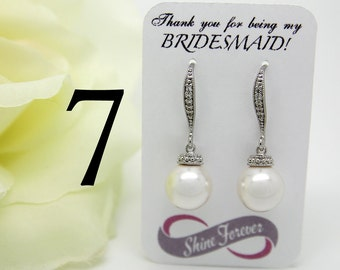 Set of 7 Bridesmaid Gift Jewelry Bridal Pearl Earring Set Swarovski Crystal Cubic Zirconia Drop Earrings Bridesmaid Earrings Pearls