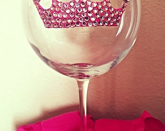 Princess Pink Tiara Bling Wine Glass, Quinceañera Sweet 16 Party Glasses