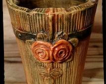 Antique Weller Woodrose Pottery / Weller 1920's Woodrose  / Weller Molded Flower Design on Wood Grain Background / Flower Vase/Bud Vase/F782