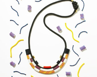 The K2 necklace, climbing rope and cord rope, bold colours, memphis meets African jewellery