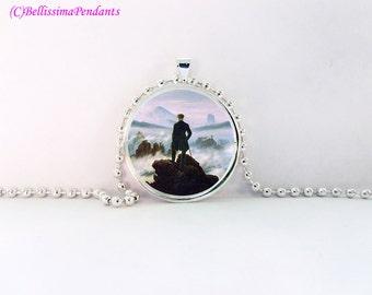 Wanderer above the Sea of Fog, Caspar David Friedrich, 1 in. 25.4 mm necklace