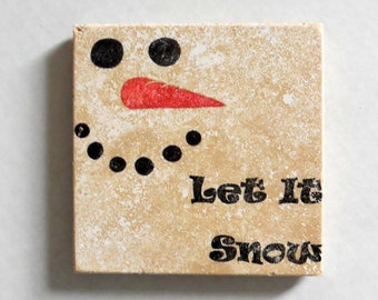 Set of Four 'Let It Snow' Travertine Tile Coasters - Winter - Christmas Decoration - Snowman - Christmas Gift - Hostess Gift - Drink Coaster