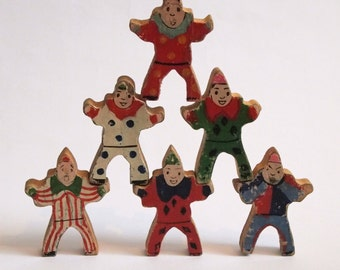 6 jolly old wooden circus clowns / dolls
