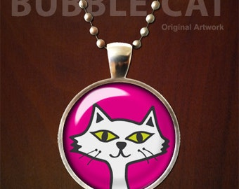 White Persian Cat Necklace, Fluffy White Cat, Pink Background for Kids, Cute White Cat Pendant with Chain