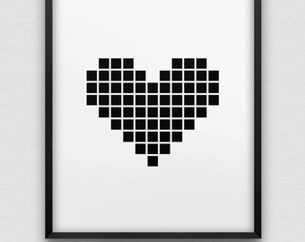 printable pixel heart wall decor // instant download print // black and white romantic home decor // nordic style print
