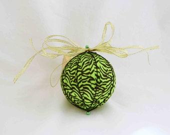 Lime Green Zebra Stripe Christmas Ornament, Christmas Ornaments, Handmade Ornaments