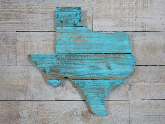 Like this item? - Turquoise Reclaimed Wood Texas Wall Art 16