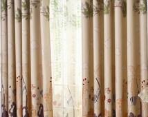 A Pair of Custom Curtain Panels Triple Woven Fabric 70-80% Light Blocking. Jungle Animal Kid's Room Baby Nursery Curtains
