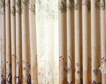 A Pair of Custom Curtain Panels Triple Woven Fabric 70-80% Light Blocking. Jungle Animal Kid's Room Baby Nursery Curtains