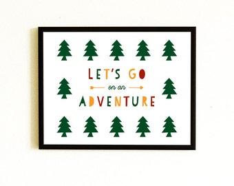 Let's Go On An Adventure Art Print - Kids Room Decor, Kids Wall Art
