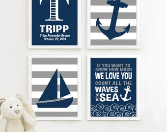 Baby Boy Nursery Art - Nautical Nursery Decor - Nautical Nursery Print -Nautical Nursery Art -Navy White Gray - You Pick the Size (NS-513)