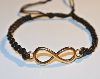 SALE NOW 15% OFF Gold Infinity and Brown Leather Bracelet