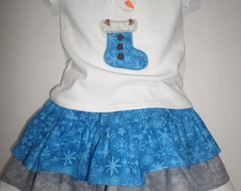 Girls Stocking Olaf Christmas Winter Frozen Boutique Birthday Party Skirt Set Princess Outfit! Baby Toddler Skirt Celebration