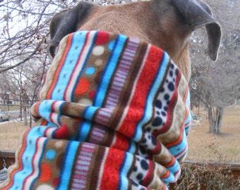 Striped fleece dog scarf, snood, neck warmer, gaiter, cowl, tube scarf; warm fleece pet scarves