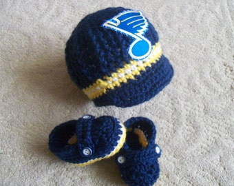 New Handmade Crochet St Louis Blues Baby Boy Hat and