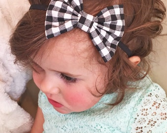 Black Checkered baby bow