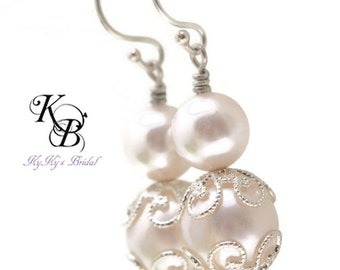 Pearl Bridal Earrings Wedding Jewelry FREE Gift Box Sterling Silver Earrings Bridal Jewelry Pearl Earrings Bridal Shower Gift Prom