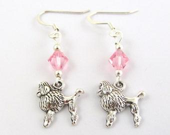Poodle Earrings- choose a birthstone, Poodle Jewelry, Poodle Birthstone, Poodle Gift, Dog Earrings, Dog Jewelry, Poodle Charms, Poodle