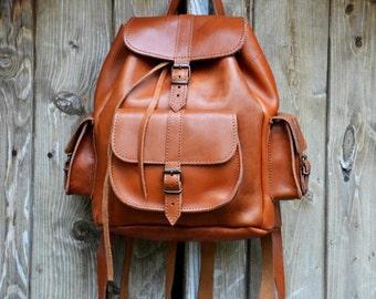 Leather Backpack -Leather Rucksack,Handmade Tobacco Color Satchel-MEDIUM