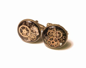As Seen at GBK's 2015 MTV Movie Awards Celebrity Gift Lounge Steampunk Cufflinks with real recycled watch parts Groomsmen Groom Wedding