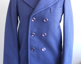 Vintage 1960s Jacket Pea Coat Double Breasted Boys, Small Mens Navy Blue Blazer, Wool, Plaid Lining