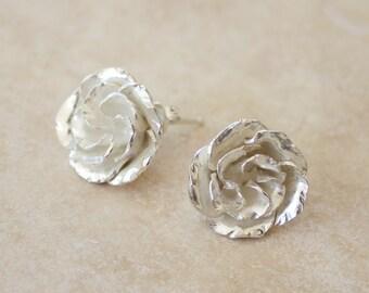Argentium Rosebud Stud Earrings, Rose Earrings, Silver Rose Earrings, Rose Studs, Bridesmaid gifts