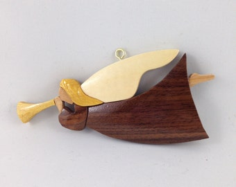 Wooden Herald Angel Ornament