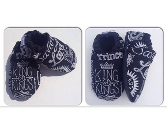 King of Kings Jesus Chalkboard Soft Sole Baby Shoes