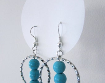 Silver Hoops with Turquoise Beads