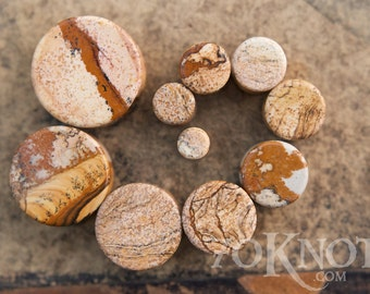 Picture Jasper Stone Plugs - Double Flared - 1 Pair - 6mm - 8mm - 10mm - 11mm - 12.7mm - 14mm - 16mm - 19mm - 22mm - 25mm - Organic