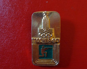 1980 Moscow Olympics Rifle Shooting Pin * Soviet Cold War Era (1980s USSR)