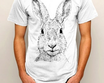 Hare Rabbit Bunny Wildlife Line Drawing Art Illustrated Men's Ethically Produced Cotton T-Shirt *Grey Or White* Sizes S-5XL. Plus Sizes.