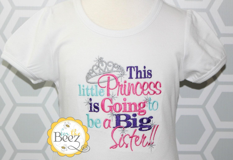 Princess big sister shirt pregnancy announcement shirt big for Big sister birth announcement shirts