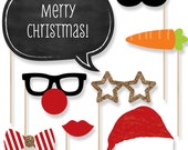 20 pc. Christmas Photo Booth Props - Holiday Kit with Mustache, Hat, Bow Tie, Glasses and Custom Talk Bubbles
