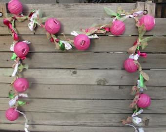 Spring Lights Spring Lighted Garland Spring Decor Spring Lanterns Easter Lights Pink Green Lights Burlap Lighted Garland Lighted Lanterns