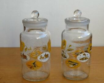 Vintage Kitchen Storage Jars/Sweet Jars- Penny Farthing Motifs
