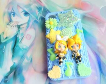 Kagamine Rin and Len Decoden Case, Vocaloid Phone Case, Iphone 4S Case, Kawaii Decoden, Cute Iphone Case, Blue Iphone Case, Kagamine Len