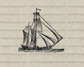 Ship Clipart Vector Graphic Sail Boat Antique Naval Art Illustration, Old Maritime Drawing, Commercial Use Instant Download WEB1750AZ